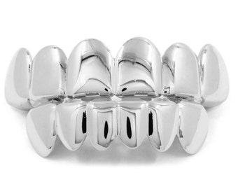 Silver plated grillz top & bottom