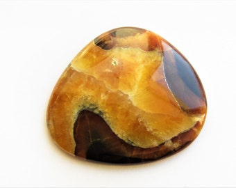 Simbircite-ammonite Cabochon with silver pyrite 53x47x4 mm