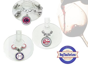 CLEVELAND Wine or Bottle Charms, Napkin Rings, Set of 6, U Choose Style +FREE SHIPPING & Discounts*