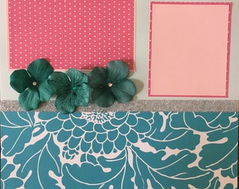 12x12 Premade Scrapbook Page- Teal Floral