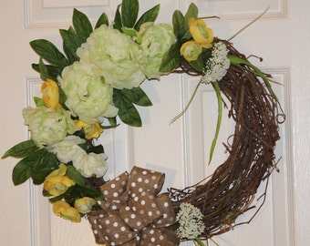 Year-round Wreath, Spring Wreath, Mint & Yellow Grapevine Wreath, Beautiful Gift, Home Decor,