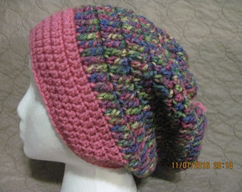 multi-color slouchy with pink brim