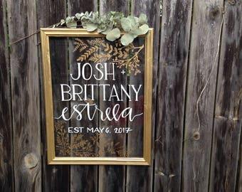 "Custom Glass Wedding Welcome Sign | glass wedding sign, glass wedding decor, welcome sign, 20"" x 24"", custom wedding sign, wedding reception"