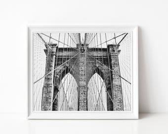 Bridge Print, Architecture Art Poster, Large Poster, New York Photo, Black and White Print, Art Decor, Architecture Print, New York Bridge