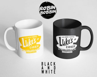 You Need Coffee Luke's Diner Mug, Cute Coffee Cup, College Student Gift-Teen Gift for Her-Best Friend Mug-Ceramic Mug, Black and White Mug