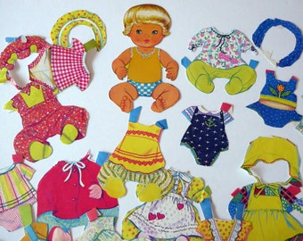 Vintage baby paper doll cut outs, paper ephemera