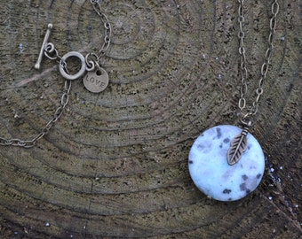 Blue Spotted Stone with Feather Charm L009