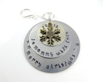 Hand stamped mommy christmas ornament----Sample - will custom make -