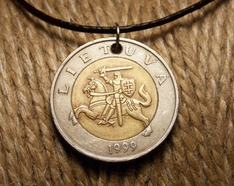 Coin Pendant. Lithuania 5 litas 1999. Gift. Jewelry.