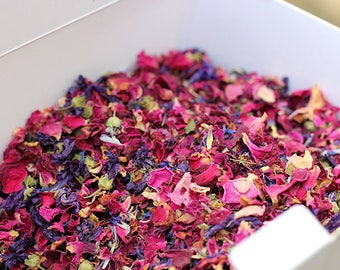 Wedding Confetti Petal Toss ~ 'INDIGO ROSE' Organic Red Rose Petals Mallow Flower ~ Biodegradable ~ Bloom Box ~ Bulk Buy 40 Cone Portions