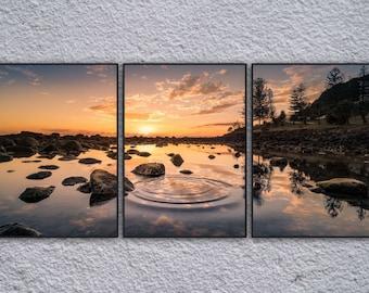 3 Panel Landscape Sunrise Framed Digital Print