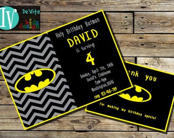 Batman Birthday Invitation Printable  5x7 or 4x6 and FREE Thank You Card Printable 5x3.5