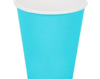 100 ct Bermuda Blue Poly Paper Cups 9oz Hot/Cold, Party Supplies, Wedding Supplies, Party, Wedding, Paper Cups, Beverage Cups, Cups