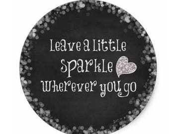 "24 PCS ""Leave A Little Sparkle Wherever You Go"" Script Sticker, Seals, Scrapbook, Stationary, Paper, Paper Stickers, Stickers, Party Supply"