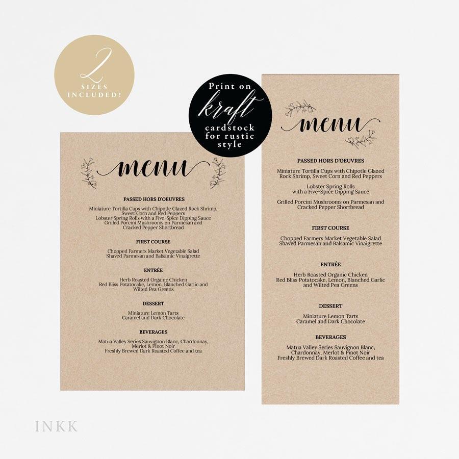 UK Australia Wedding, Rustic Printable Wedding Menu Template, Kraft ...