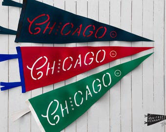 "Chicago Felt Pennant - 9""x24"" - Chicago Home Decor 