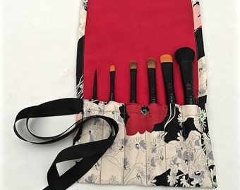 Japanese Poppy - Handmade Brush Roll (6 Pockets)