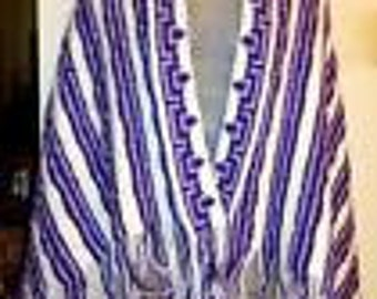 HAND-MADE Knit/Crochet Throw/Wrap/Cape/Scarf Purple - Beautiful!
