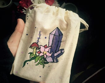 Large Handsewn and Hand Painted Colorful Tarot Bag Cleansed With Lavender Moon Water ~ Rune Bag, Tarot Bag, Crystal Bag