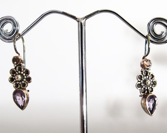 925 silver flower earrings and amethyste stone and citrine