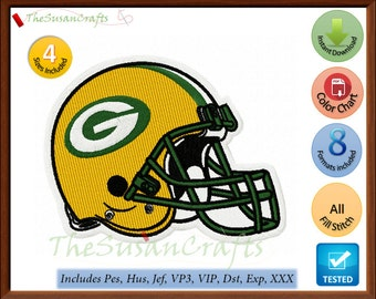 GreenBay Packers Helmet EMBROIDERY DESIGNS Pes, Hus, Jef, Dst, Exp, Vp3, Xxx, Vip