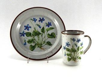 Vintage Violet Lunch / Luncheon Plate and Mug - NO 102 - Vintage Speckled Stoneware Japan - Vintage Brown Speckled Stoneware Japan