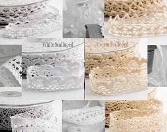 White Cotton Lace Ribbon, Cream Lace Ribbon, Vintage Lace Ribbon, Shabby Chic Ribbon, Boho Lace Ribbon, Wedding Ribbon, Craft Ribbon