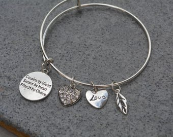 Cousin Gift- Cousin Bracelet - Cousin Jewelry -Cousin Adjustable Bangle- Perfect Gift for Cousins!!