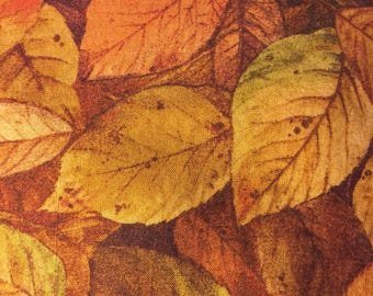 High Quality Cotton Fall Leaf Fabric in Golds, Oranges, and Browns