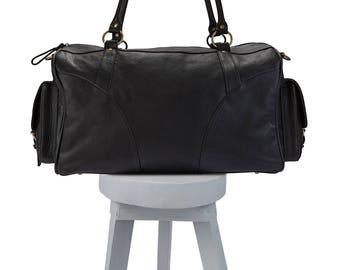 leather travel bag - mens leather travel bag - leather travel bag womens - genuine leather travel bags -  black leather travel bag