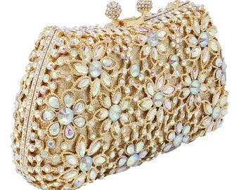 Gold clutch, crystal clutch, Evening bag, Evening purse, Evening clutch, women's clutch, bridal clutch, clutches, party clutch, clutch