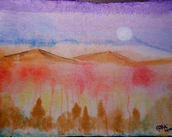 Original Gouache and Ink on Coarse Paper Tangerine Desert 2/2
