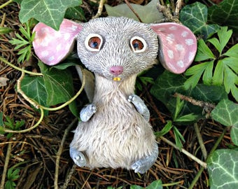 Cute sweetie mouse art doll fantasy creature miniature ooak toy plush  sculpted furry artist animal figure decor polymer clay collectible