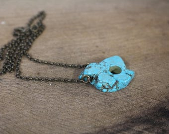 Small Howlite pendant    Antiqued brass chain