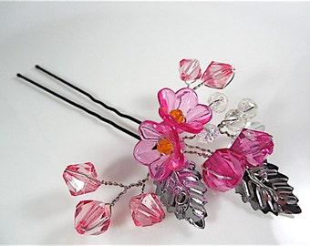 Flower girl hair accessories, flower girl headpiece, bobby pin flower girl gift, flower girl hair clip, flower girl hair pin, bobby pin pink