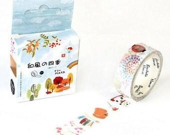 Japanese Four Season Washi Tape, Decorative Washi Tape, Masking Tape,Decorative Sticker,Planner Sticker,Diary,Stationery