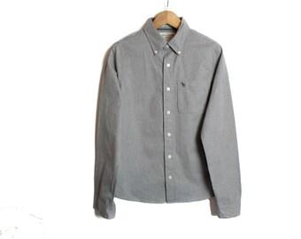 Abercrombie Fitch shirt, Mens shirt, Grey shirt, Abercrombie shirt, Button up shirt, Vintage shirt, Long sleeve, Mens dress shirt / Medium
