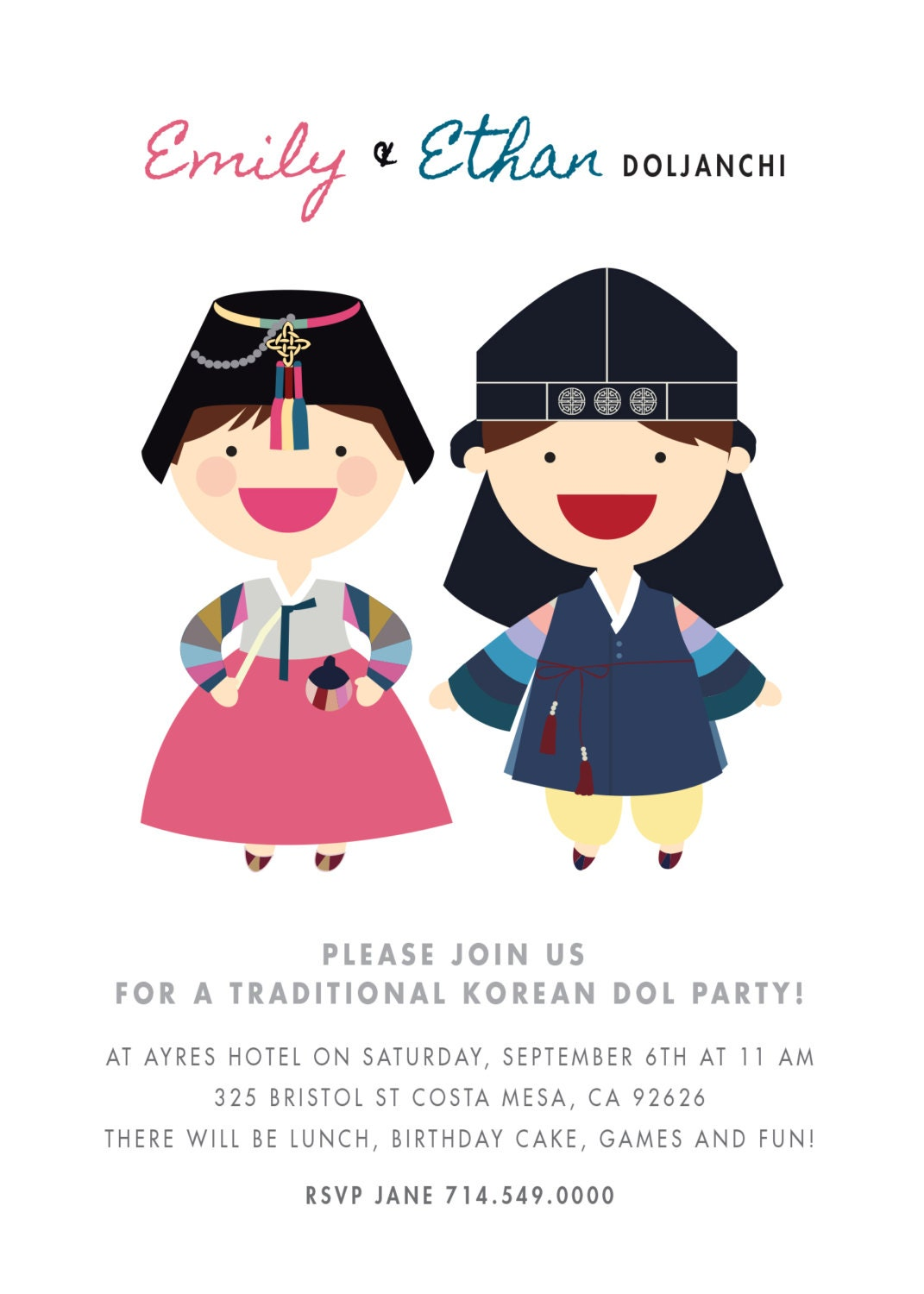 Doljanchi invitation custom boy girl twins korean first birthday dol doljanchi invitation custom boy girl twins korean first birthday dol doljanchi printable digital file filmwisefo