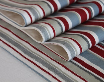 """Dining Table Designer Fabric Placemats Prestigious """"Zoom"""" in Red, Grey, White and Blue"""