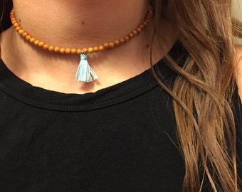 Amber Beaded Choker with Sky Blue Tassel