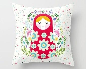 Matryoshka Throw Pillow Cute Pillow Christmas Gifts Kids Gifts Babushka Nursery Pillow Kids Room Decor Girls Room Throw Pillow Home Decor
