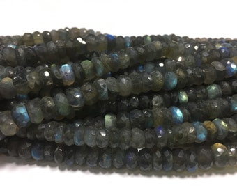 Labradorite rondelle beads,10 inch strand,7-8.5 MM,pack of 2 strands
