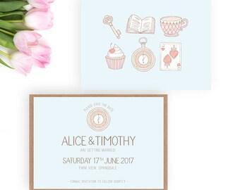 Alice in Wonderland Wedding Save the Date card