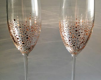 Set of two Rose Gold Champagne Glasses