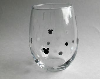 Mickey Silhouette Stemless Wine Glass