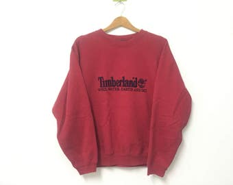 Sale!! Sale!! Vintage Timberland Sweatshirt with Embroidery Spell Out Red Rare