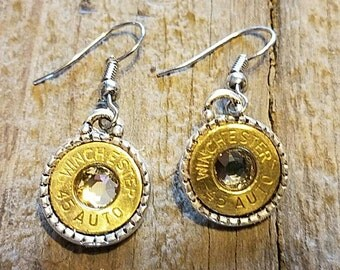 Winchester 45 auto bullet earrings with a Swarovski crystal. Best bullet jewelry earrings,  high quality. Classy bullet jewelry.