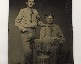 Vintage Tintype Photograph, Two Brothers c.1850s