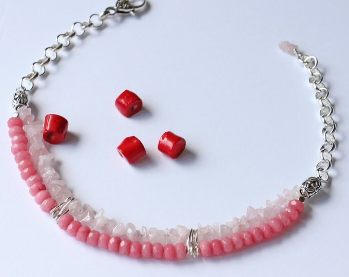 Pastel pink choker, pink necklace, rose jewelry, gift for her