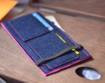 Felt wallet blue/pink